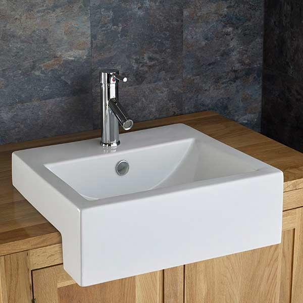 semi recessed bathroom basin rectangular in white ceramic 500mm x 460mm sink santana