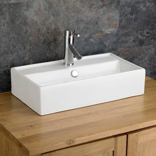 narrow countertop bathroom basin wide rectangular sink in white ceramic 550mm x 320mm perugia