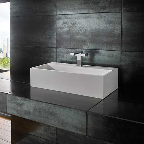 large rectangular countertop bathroom basin in white stone resin 600mm x 300mm kiva
