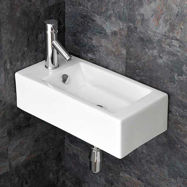 small wall hung corner basin in white ceramic left hand sink 500mm x 255mm cloakroom or ensuite basin lucca