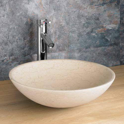 round countertop basin in cream limestone 400mm diameter bathroom sink portici