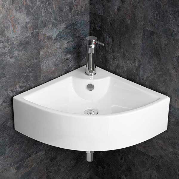 wall hung corner bathroom basin in white ceramic width 660mm large sink prato