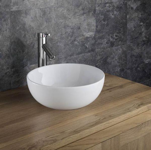 round countertop bathroom basin in white ceramic 350mm diameter freestanding sink selva