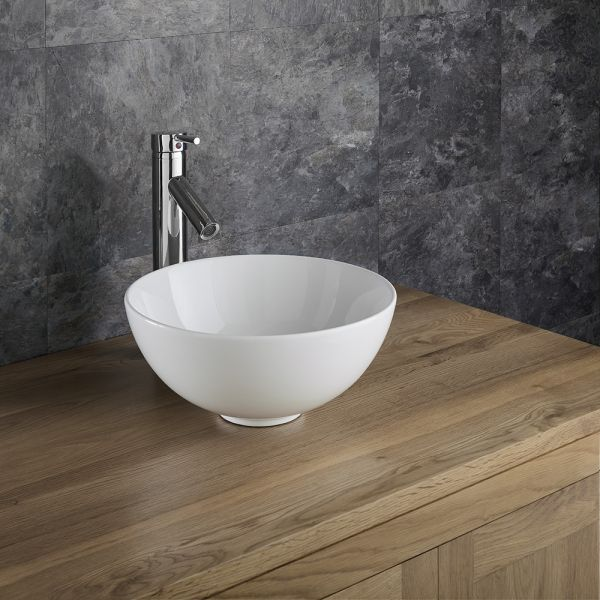 small round countertop bathroom basin in white ceramic 320mm diameter sink cami