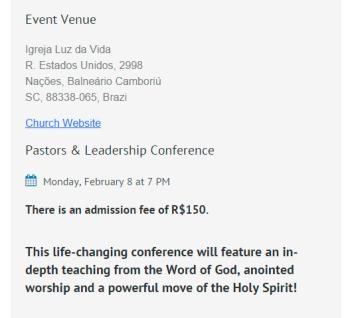 Informação extraída do site oficial do conferencista, bennyhinn.org (Reprodução)