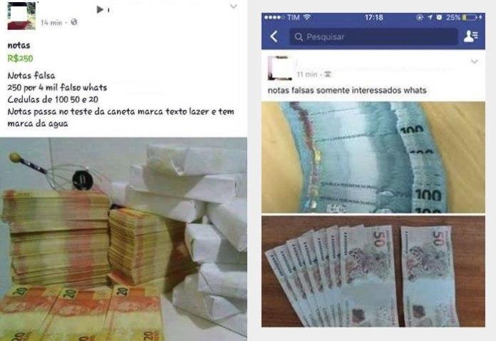 Anúncios publicados em grupos de facebook.
