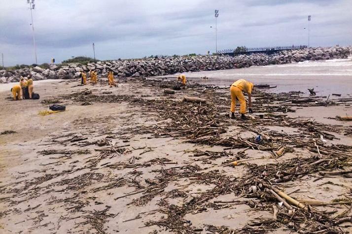 Secretaria de Obras retira entulho das praias de Itajaí edited