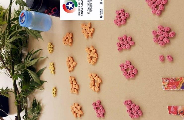 2 pes de maconha 169 comprimidos de ecstasy e 24 micropontos de LSD