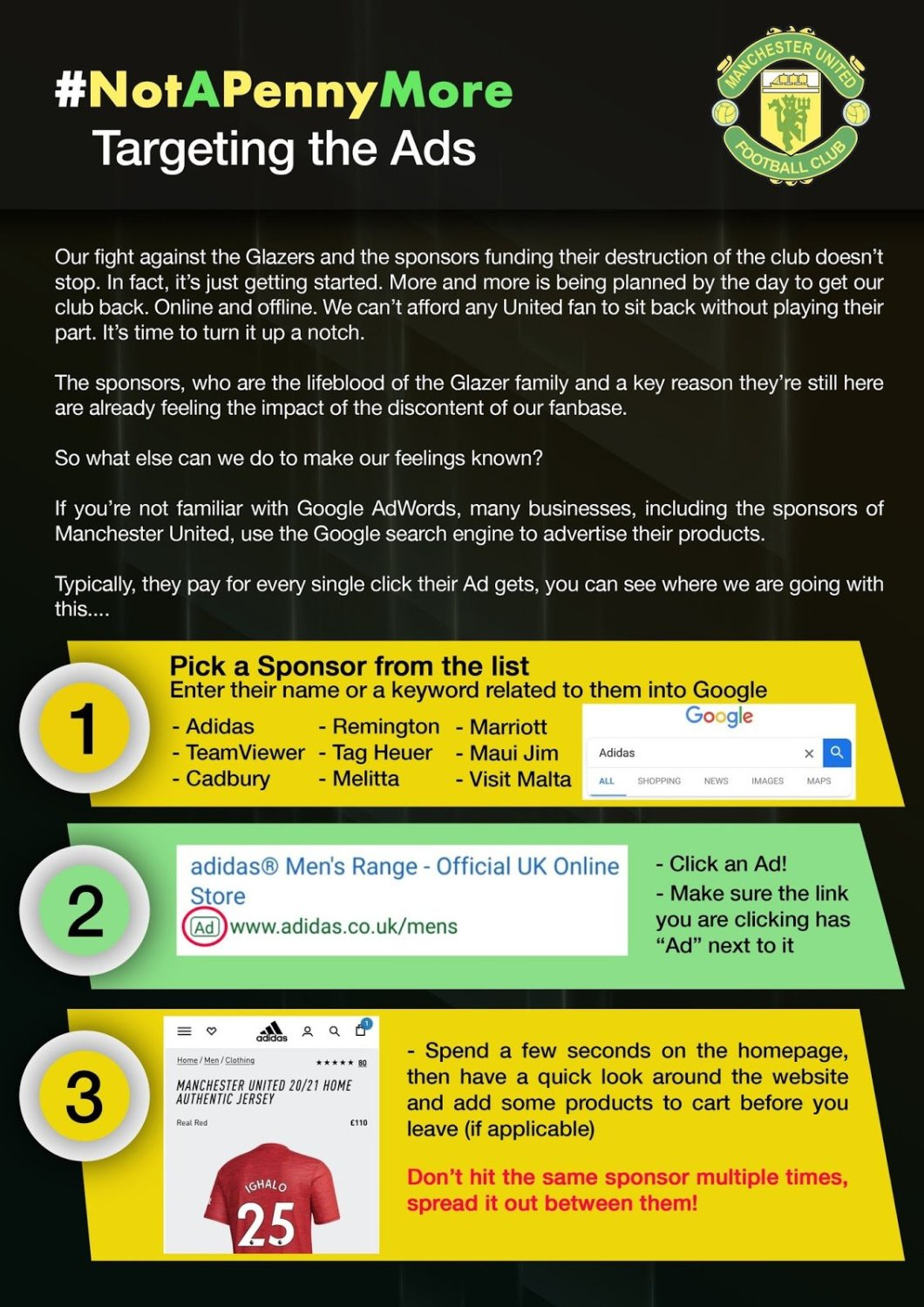 click fraud instructions by soccer fans of Man Utd