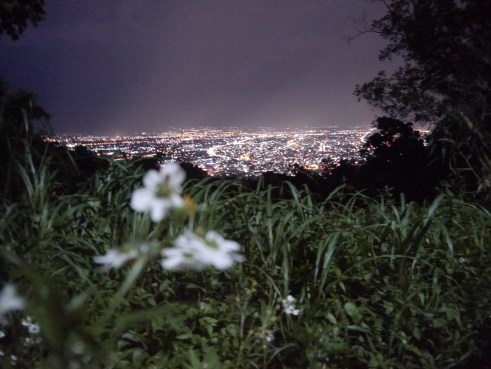 A view from a mountain in the dark