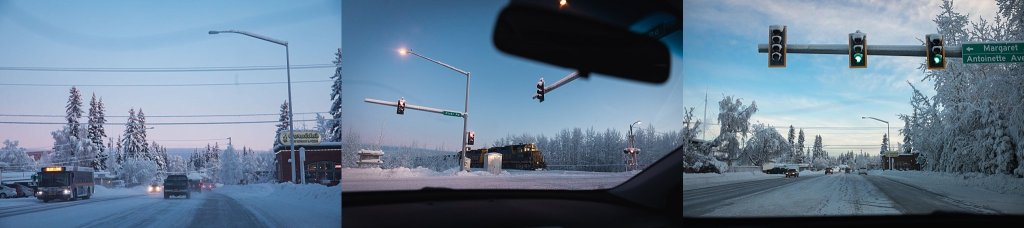Alaskan windshield frozen landscapes