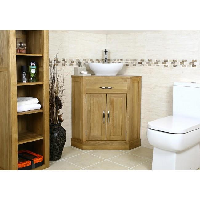cube solid oak corner bathroom vanity