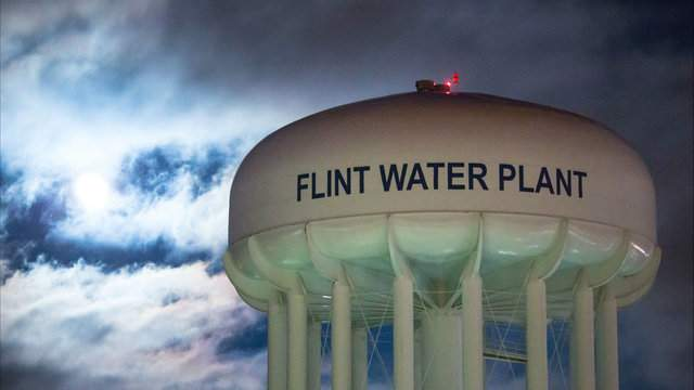 The City of Flint Water Plant is illuminated by moonlight on January 23, 2016 in Flint, Michigan. (Photo by Brett Carlsen/Getty Images)