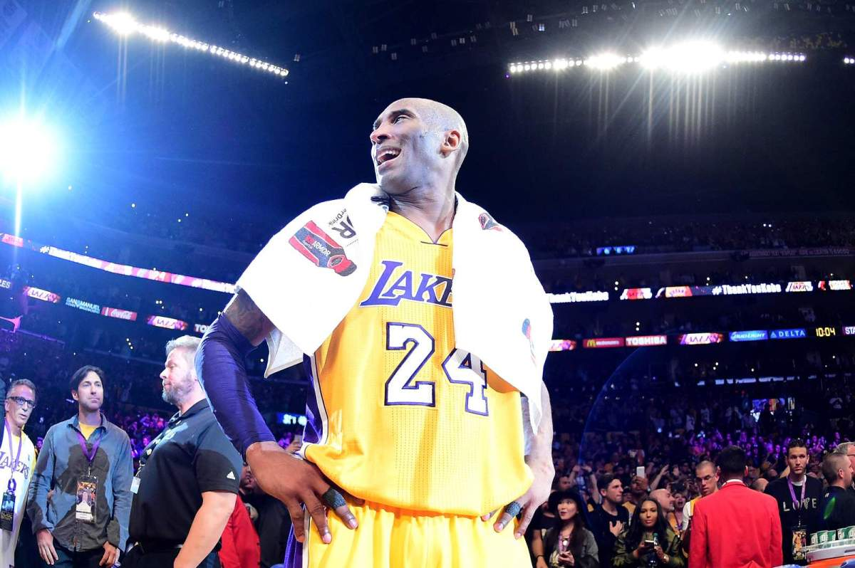 Kobe Bryant celebrates after scoring 60 points in his final NBA game at Staples Center. It was April 13, 2016 and the Lakers defeated the Utah Jazz, 101-96.