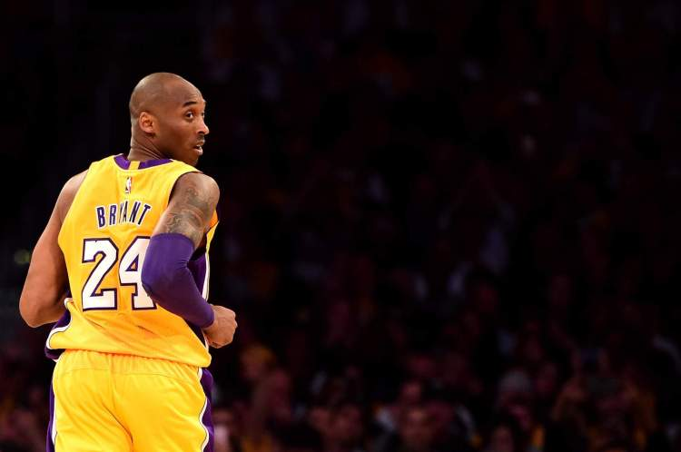 Kobe Bryant looks back in the first half while taking on the Utah Jazz at the Staples Center in April 2016.