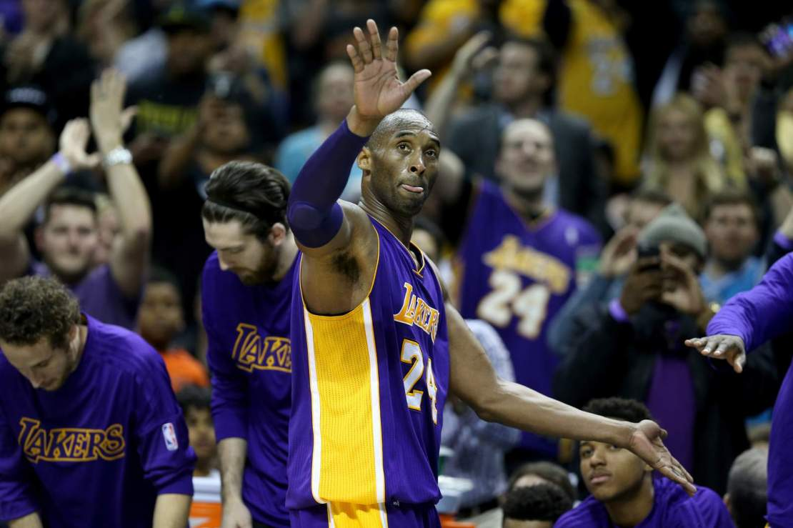Kobe Bryant goes out of the game as the Charlotte Hornets defeated the Los Angeles Lakers 108-98 at Time Warner Cable Arena on Dec. 28, 2015.