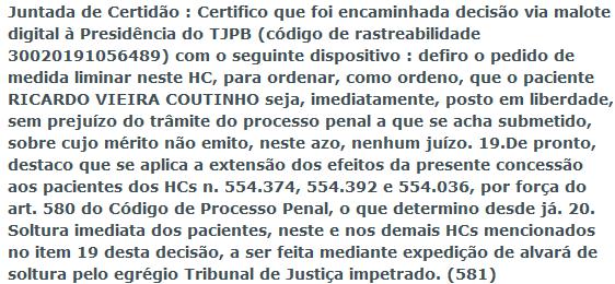 screenshot_2019-12-21_stj_-_consulta_processual1 Ministro do STJ determina soltura imediata de Ricardo Coutinho