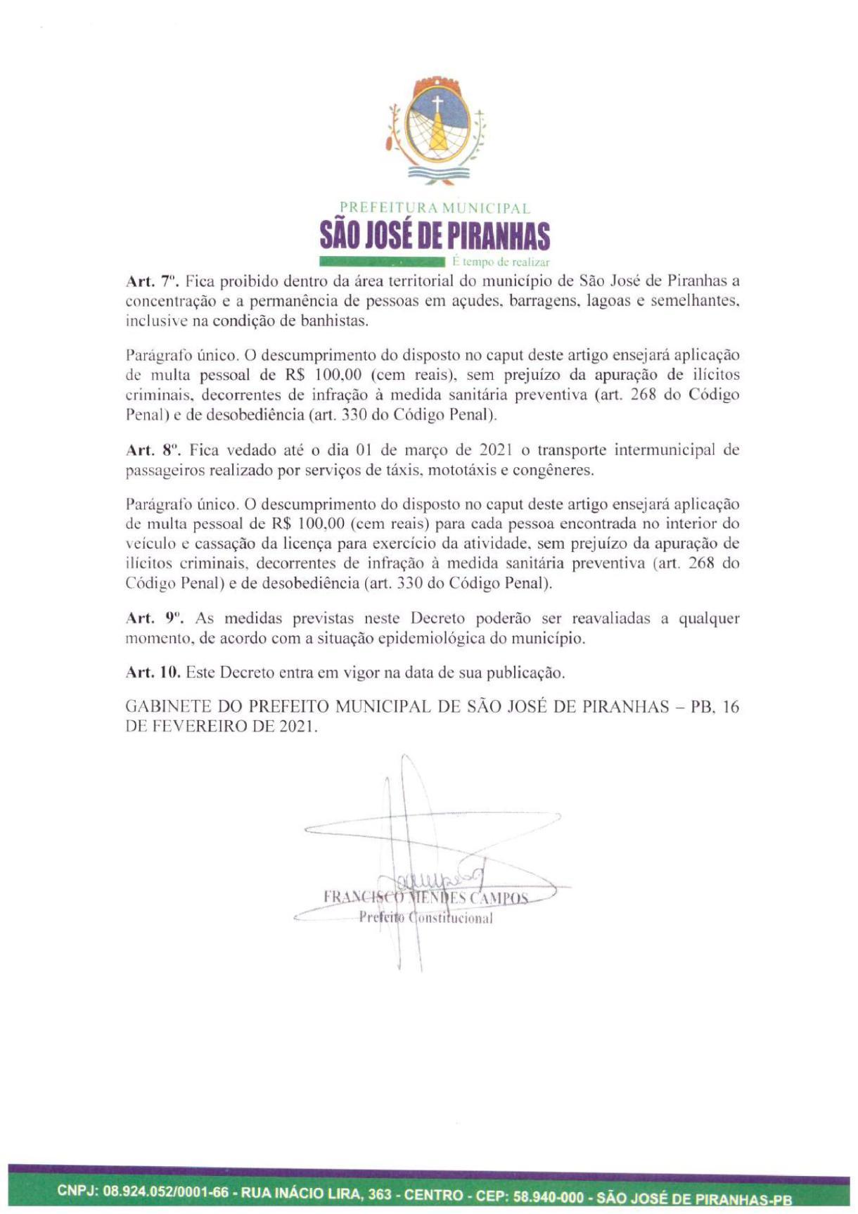 0004 Prefeito de São José de Piranhas fecha atividades não essenciais e proíbe venda de bebidas alcoólicas na cidade
