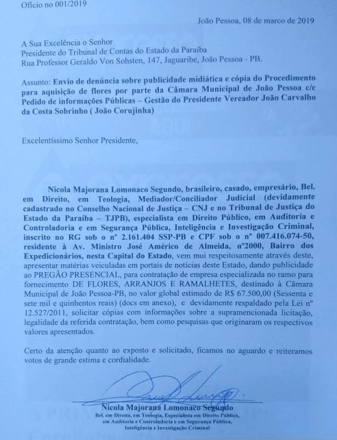 print - R$ 67 MIL: Corujinha é denunciado ao TCE após licitação para compra de flores destinadas à CMJP