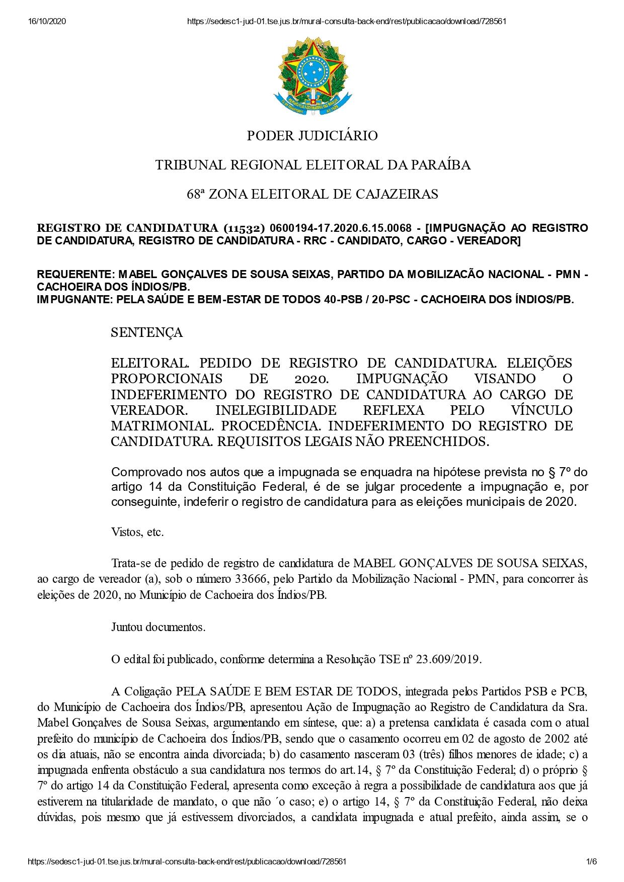 cachoeira dos indios mabel page 0001 - DECISÃO: Justiça Eleitoral indefere registros dos dois únicos candidatos a prefeito de Cachoeira dos Índios