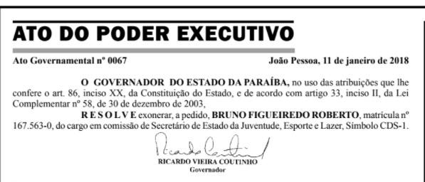 exoneracao_-_bruno_roberto Exoneração de Bruno Roberto é publicada no Diário Oficial do Estado