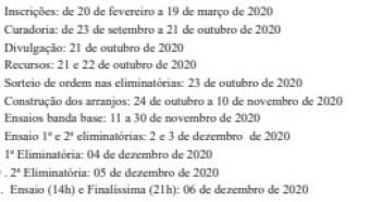 cronograma - Governo da Paraíba divulga novo cronograma e novas regras para Festival de Música em homenagem ao Mestre Sivuca