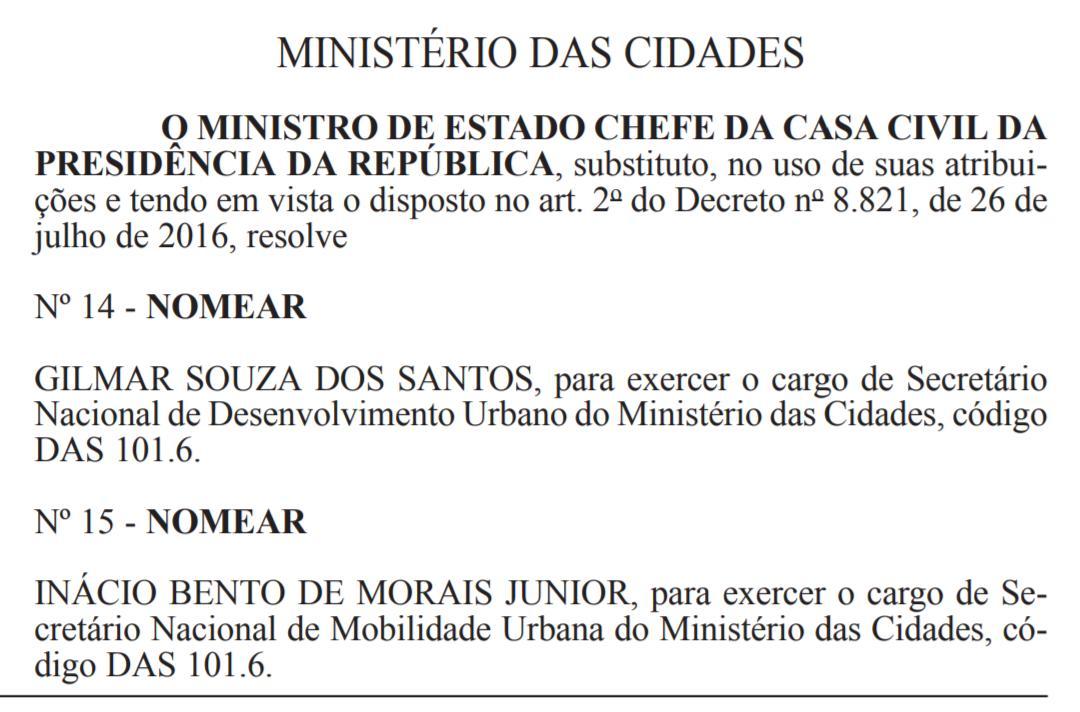 nomeacao - Nomeação de paraibano para secretaria de Ministério é publicada no Diário Oficial da União
