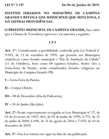 campina grande feriados religiosos e civil lei 7197 romero sancionou 040619 - FERIADO: São João entra no calendário comemorativo de CG com nova lei sobre datas religiosas
