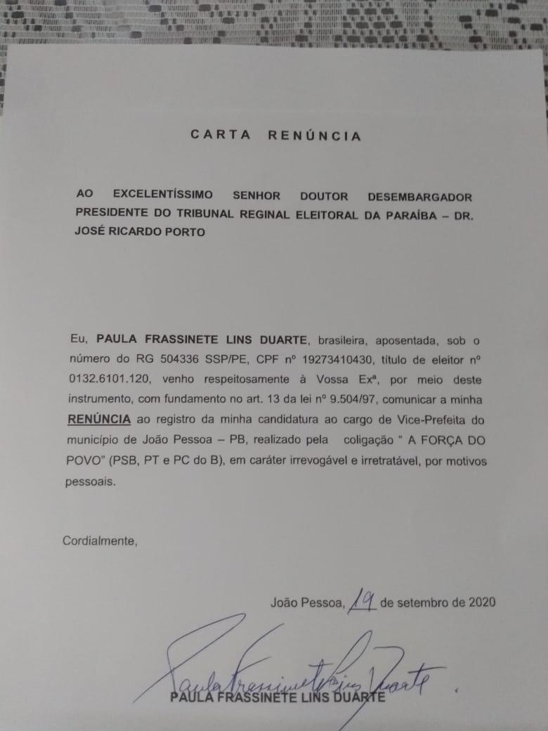 paula - Paula Frassinete desiste de ser vice na chapa de Ricardo Coutinho na disputa pela prefeitura de João Pessoa