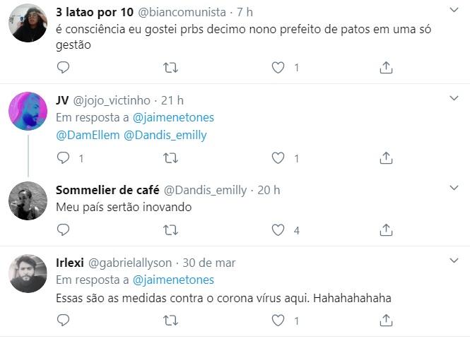 limpeza ruas patos pb coronavirus meme twitter 30032020 2 - Higienização das ruas de Patos contra o coronavírus vira piada nas redes sociais, e Nilvan Ferreira também faz 'chacota' com o prefeito - VEJA VÍDEO