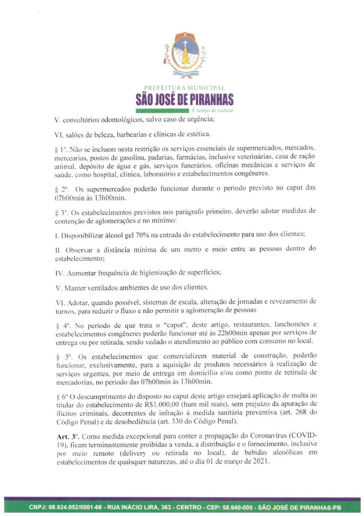 0002 Prefeito de São José de Piranhas fecha atividades não essenciais e proíbe venda de bebidas alcoólicas na cidade