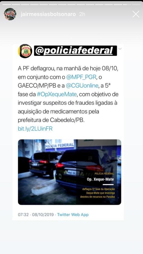 whatsapp image 2019 10 08 at 090836 - XEQUE MATE NAS REDES SOCIAIS: Bolsonaro destaca operação na Paraíba para seguidores