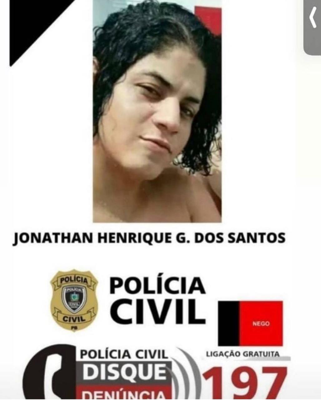 nathaw santt jonathan henrique suspeito morte patricia roberta 2 - FORAGIDO PELA JUSTIÇA: polícia divulga foto de suspeito de envolvimento na morte da jovem Patrícia em busca de informações