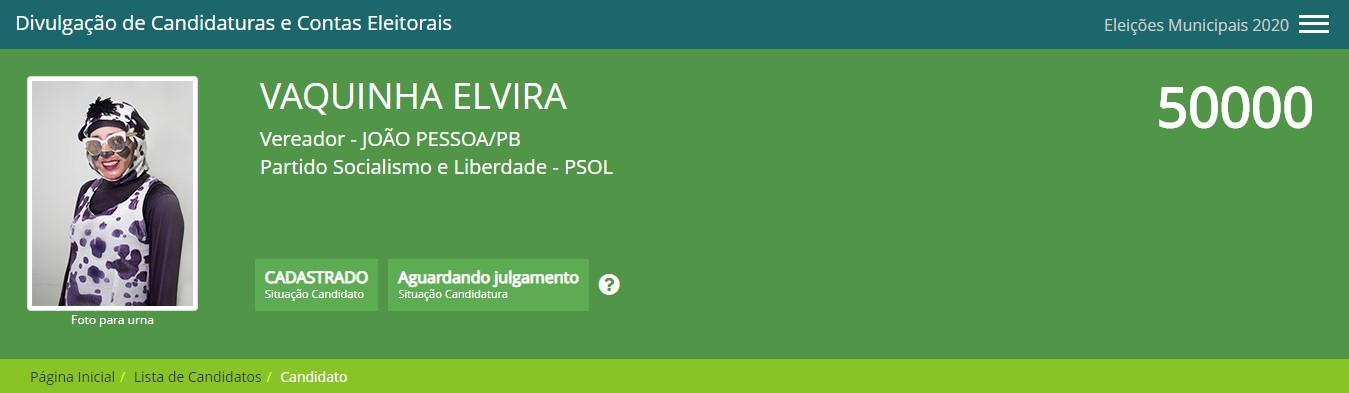 """vaquinha elvira - Nomes bizarros e estranhos dessas eleições em João Pessoa: """"Galega do Alternativo, Vaquinha Elvira e Coroa Boy""""; veja mais"""