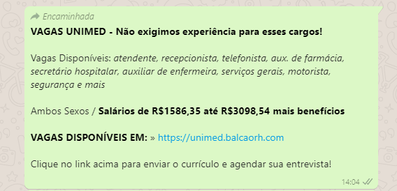zap - ALERTA: Unimed JP desmente Fake News divulgada pelo WhatsApp sobre oferta de vagas de emprego