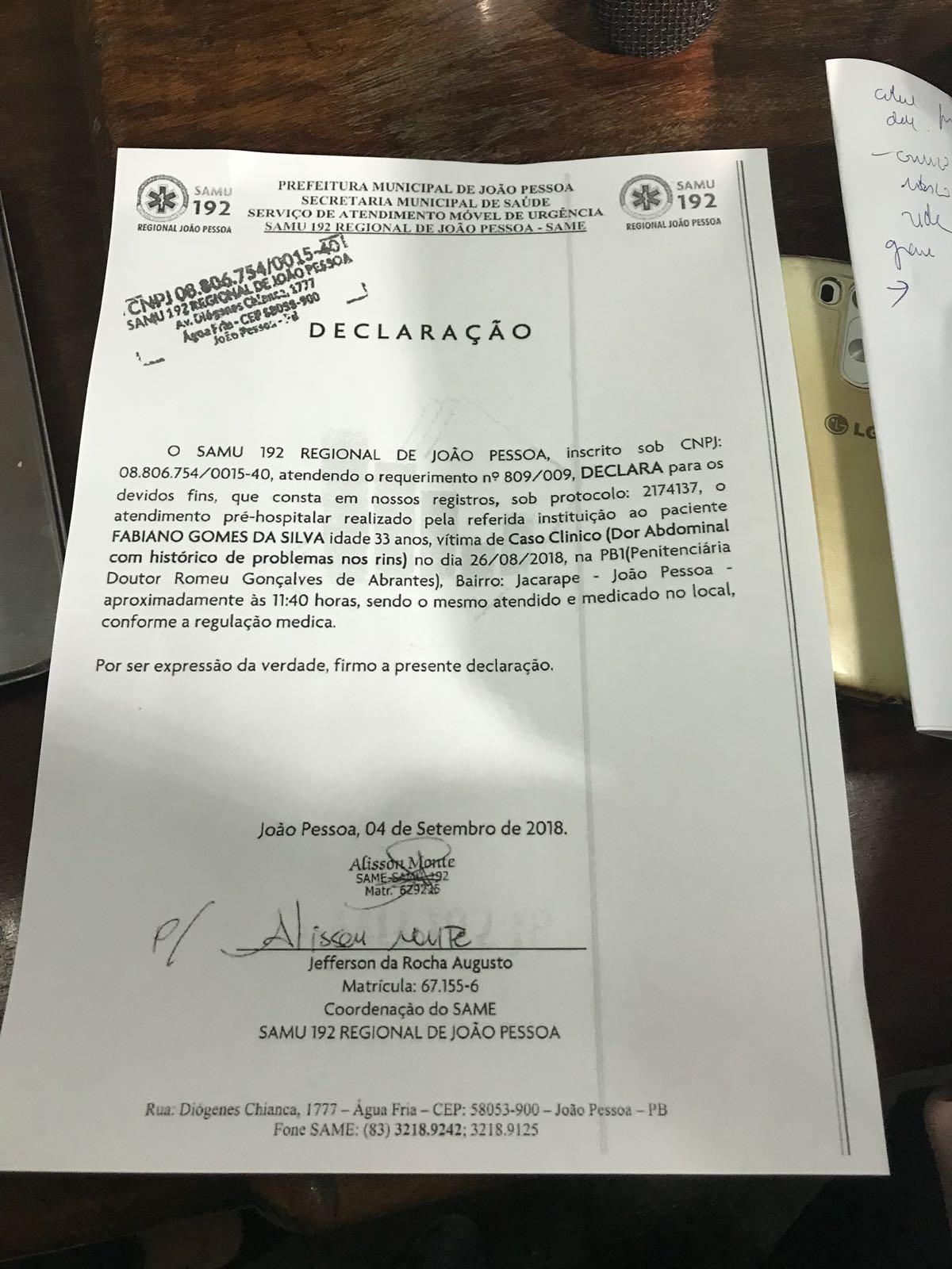 whatsapp image 2018 09 13 at 104006 1 - PEDIDO DE PRISÃO DOMICILIAR: defesa de Fabiano Gomes teme pela condição de saúde do comunicador