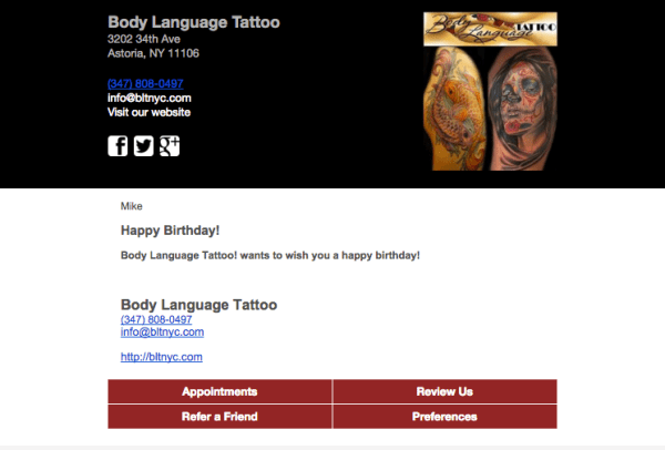 Birthday emails from Body Language Tattoo