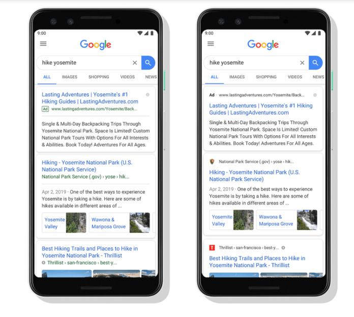 Google new mobile SERP design