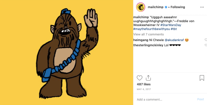 Example of how Mailchimp showcases its brand personality through Instagram posts