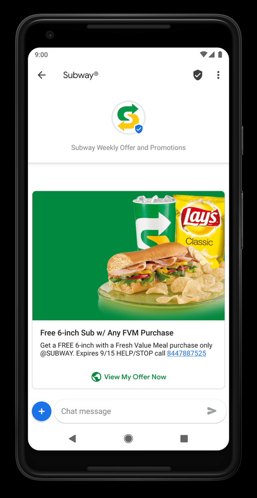 example of how Subway used RCS messages and got a 144% increase in redemption rate compared to SMS promotions