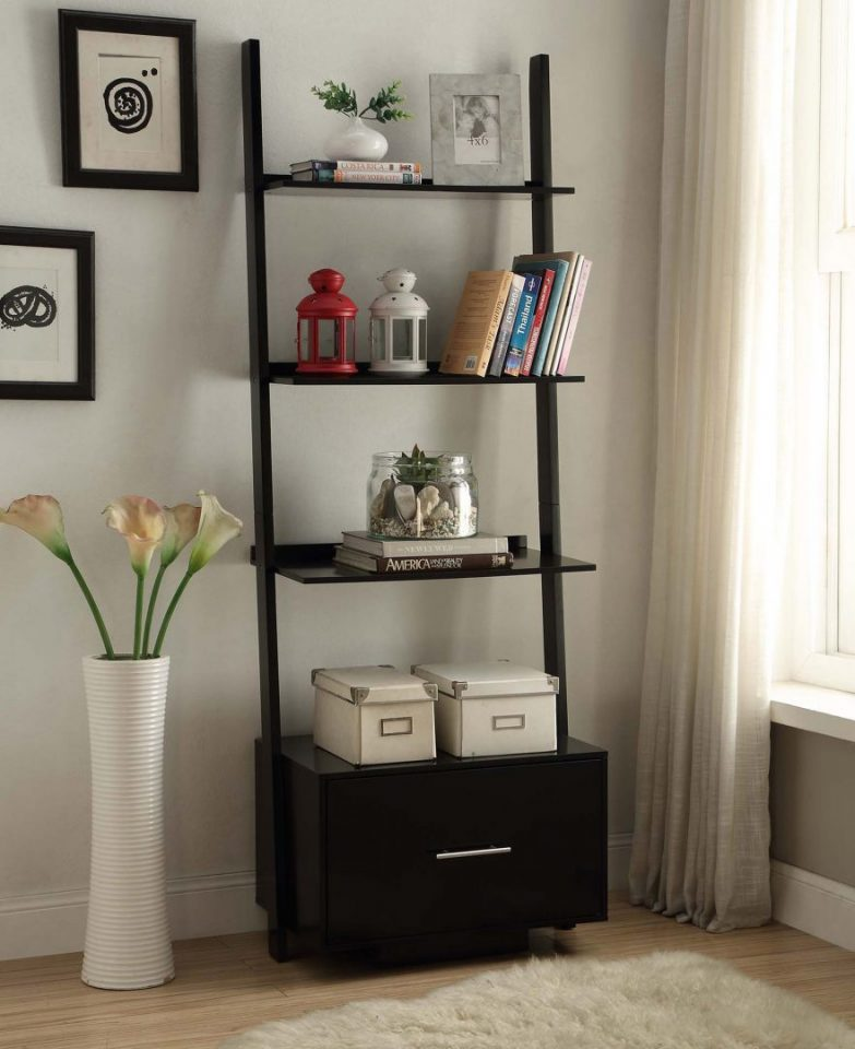 Black Ladder Bookcase With Drawers