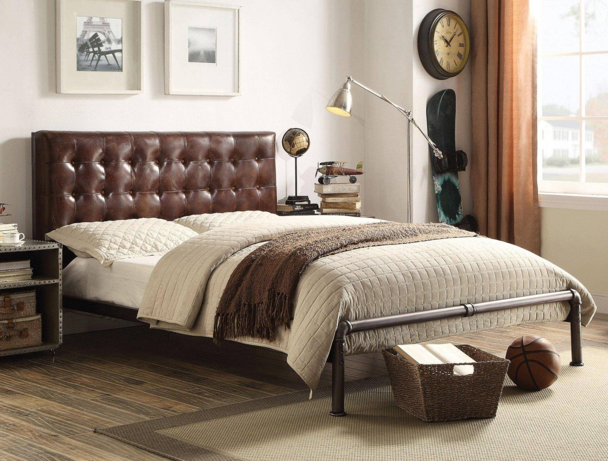 brown grain leather queen bedroom set