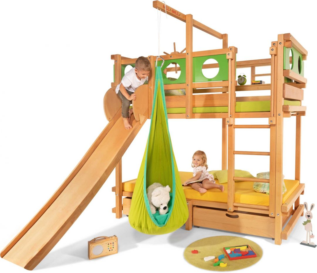 bunk beds with slide and swing
