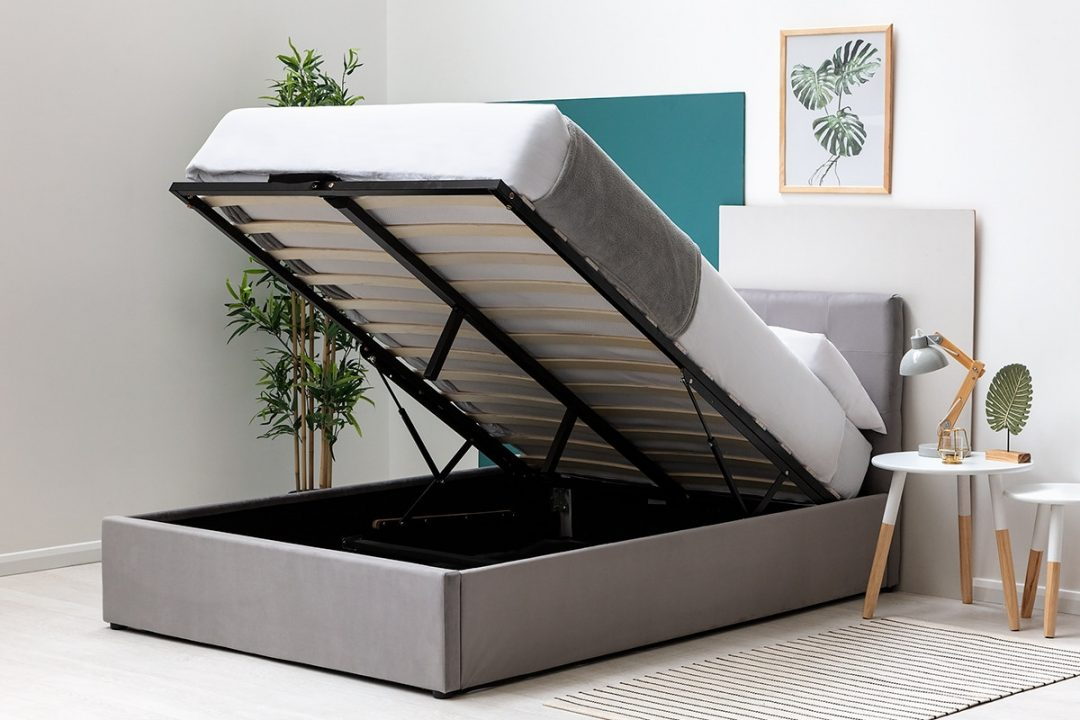 grey velvet storage ottoman bed frame single