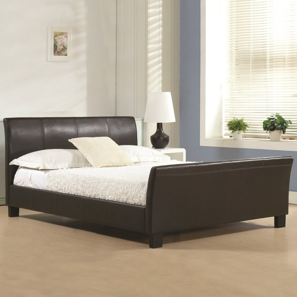 king size brown faux leather bed