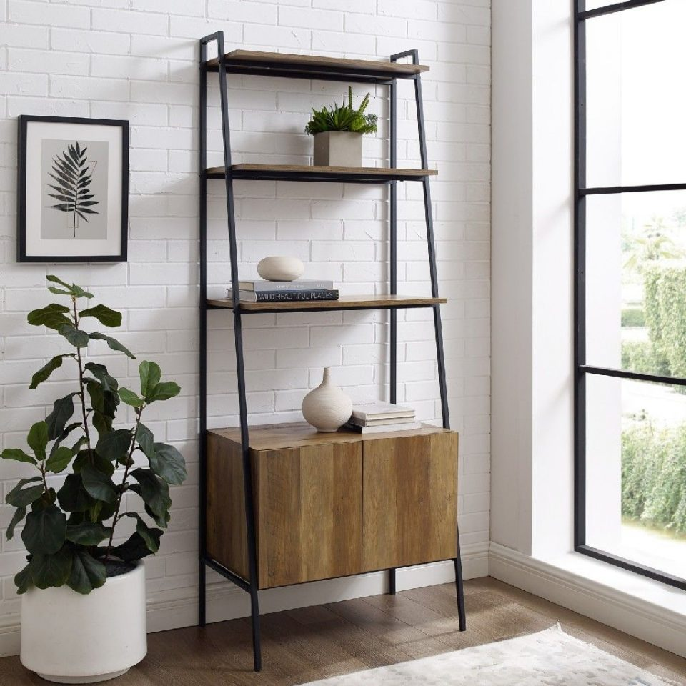 Ladder Bookcase With Cabinet