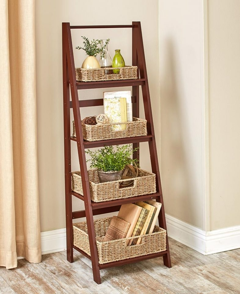 Ladder Shelf With Baskets