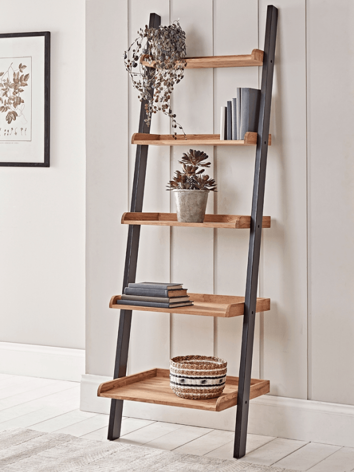 Leaning Oak Ladder Shelf