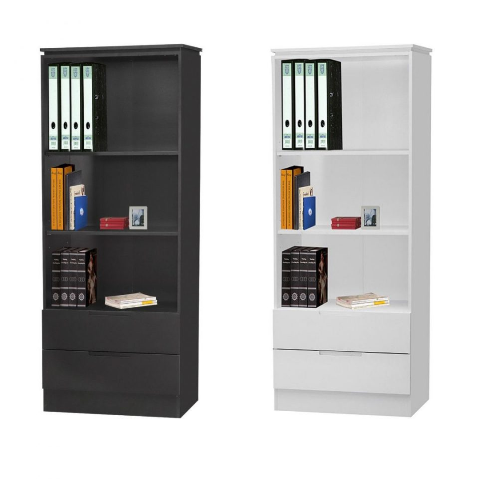 Modern Tall Bookcase Black Or White Design