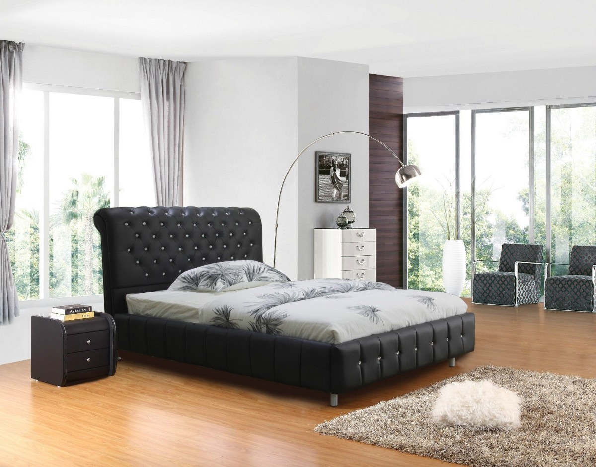 pu leather bed king size black